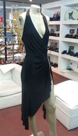 Vestido Cascada Negro con Piedras Plata